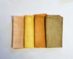 玉ねぎ染め4種類の媒染の色見本